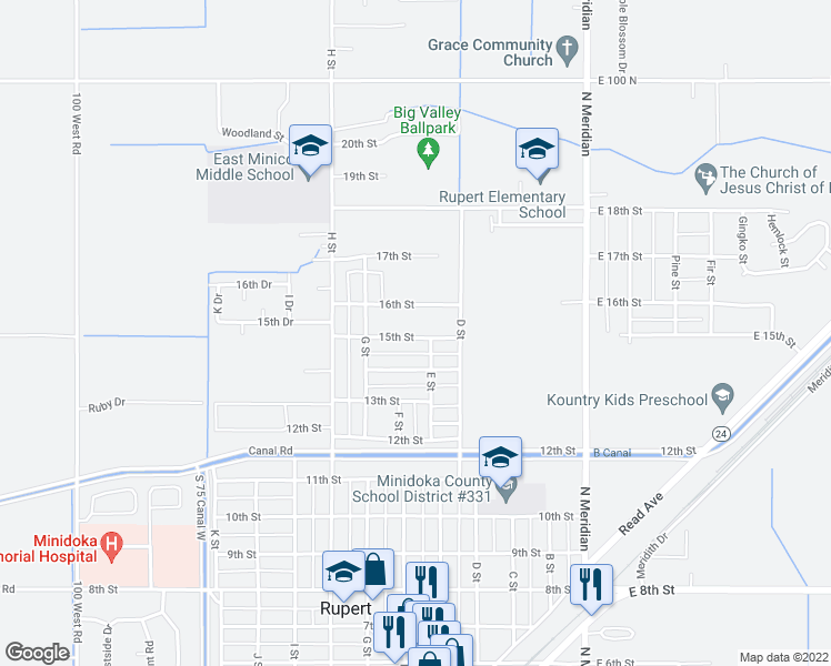 map of restaurants, bars, coffee shops, grocery stores, and more near 510 15th Street in Rupert