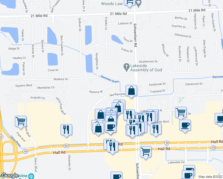 map of restaurants, bars, coffee shops, grocery stores, and more near Hickory East in Utica