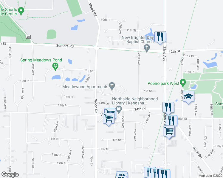 map of restaurants, bars, coffee shops, grocery stores, and more near 1387 30th Avenue in Kenosha