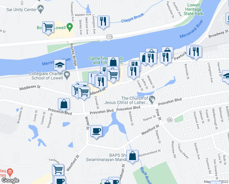 map of restaurants, bars, coffee shops, grocery stores, and more near 20-54 Pratt Avenue in Lowell