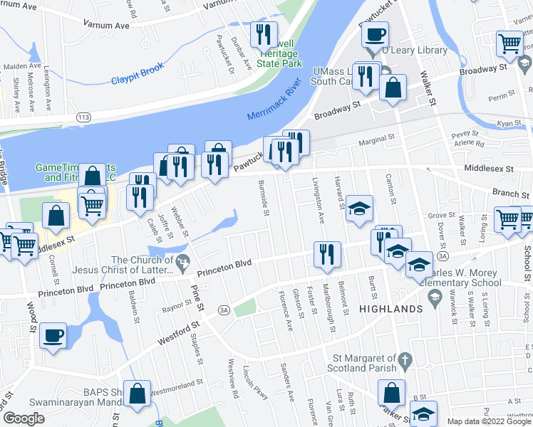 map of restaurants, bars, coffee shops, grocery stores, and more near Burnside Street in Lowell