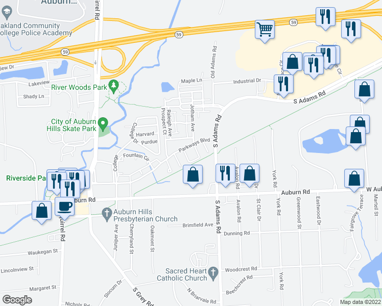 map of restaurants, bars, coffee shops, grocery stores, and more near 124 Optimist in Auburn Hills