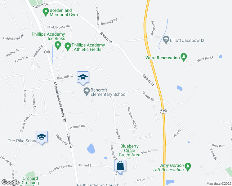 map of restaurants, bars, coffee shops, grocery stores, and more near 6 Stinson Rd in Andover