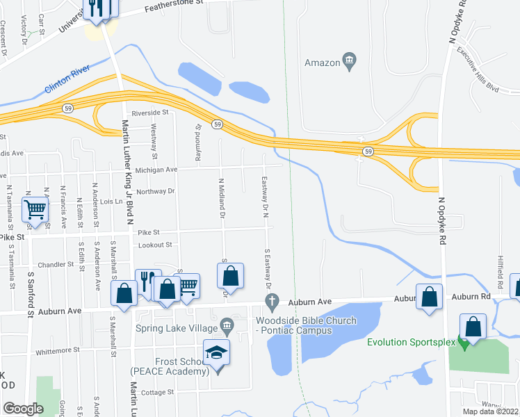 map of restaurants, bars, coffee shops, grocery stores, and more near 31 Eastway Drive North in Pontiac