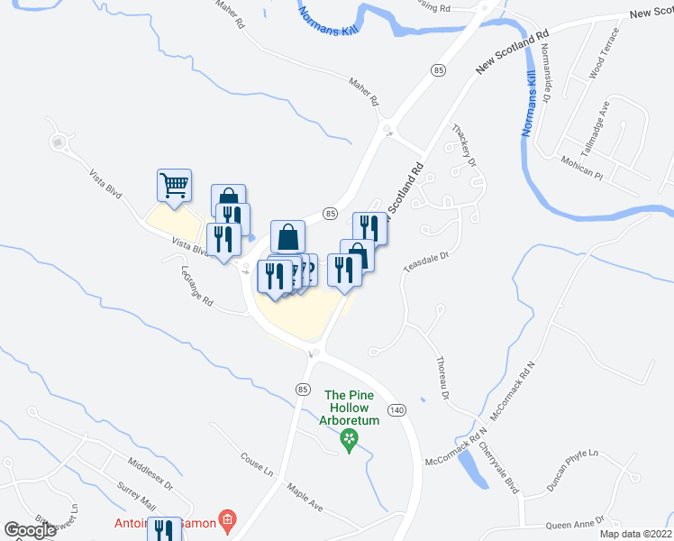 map of restaurants, bars, coffee shops, grocery stores, and more near 33 Hamlet Court in Slingerlands