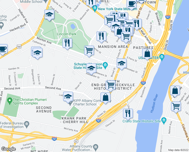map of restaurants, bars, coffee shops, grocery stores, and more near Alexander Street in Albany