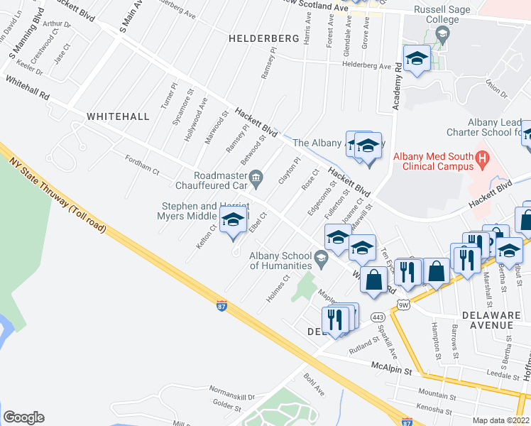 map of restaurants, bars, coffee shops, grocery stores, and more near Elbel Court in Albany