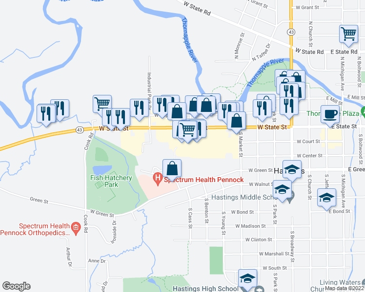 map of restaurants, bars, coffee shops, grocery stores, and more near 908 West State Street in Hastings