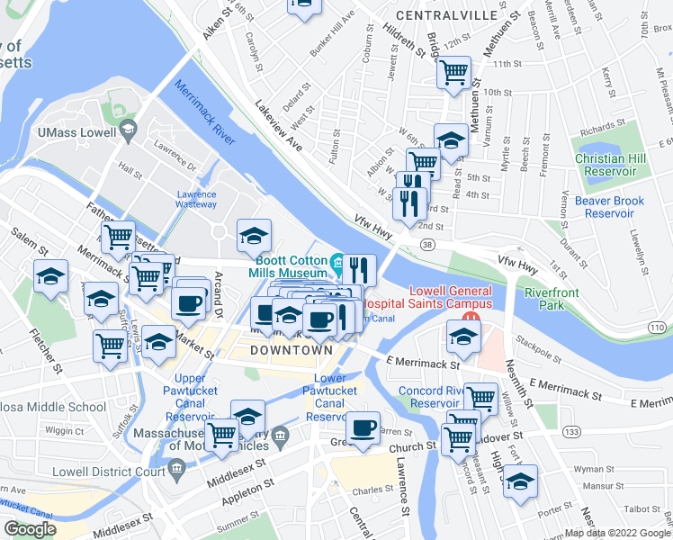 map of restaurants, bars, coffee shops, grocery stores, and more near 136 John Street in Lowell