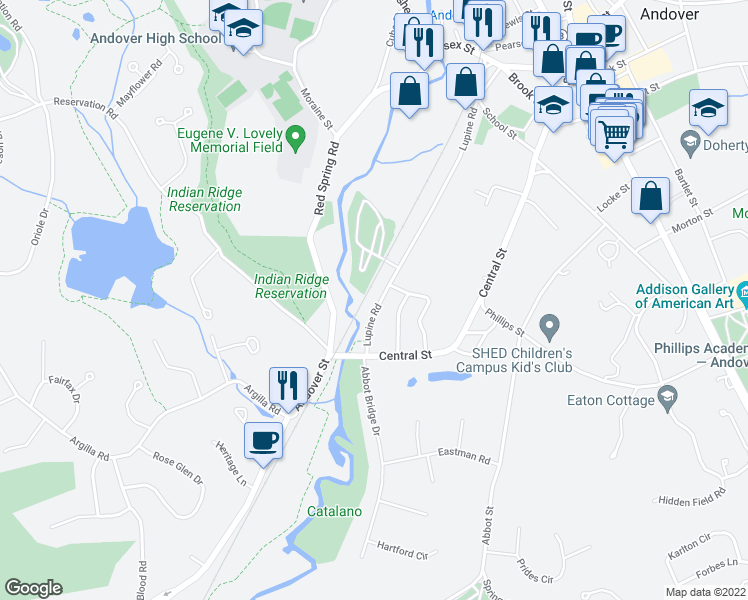 map of restaurants, bars, coffee shops, grocery stores, and more near 49 Lupine Road in Andover