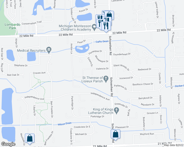 map of restaurants, bars, coffee shops, grocery stores, and more near 48261 Turia Court in Macomb County
