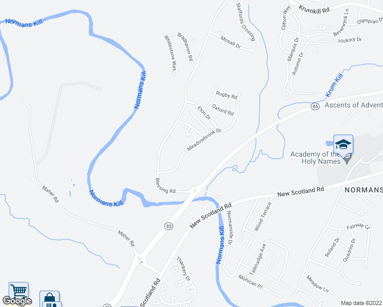 map of restaurants, bars, coffee shops, grocery stores, and more near 47 Meadowbrook Drive in Slingerlands