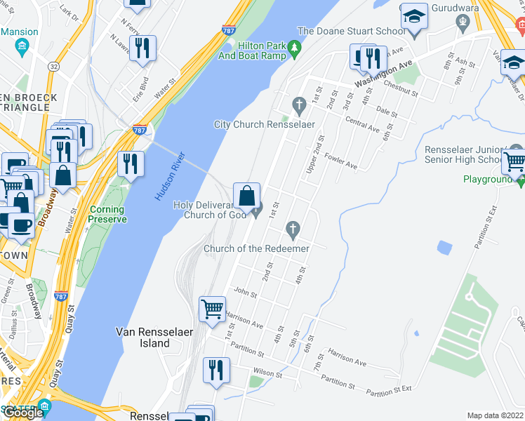 map of restaurants, bars, coffee shops, grocery stores, and more near 1342 Broadway in Rensselaer