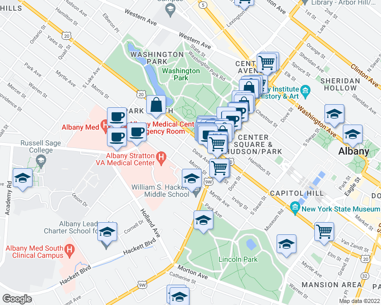 map of restaurants, bars, coffee shops, grocery stores, and more near 36 Dana Ave in Albany