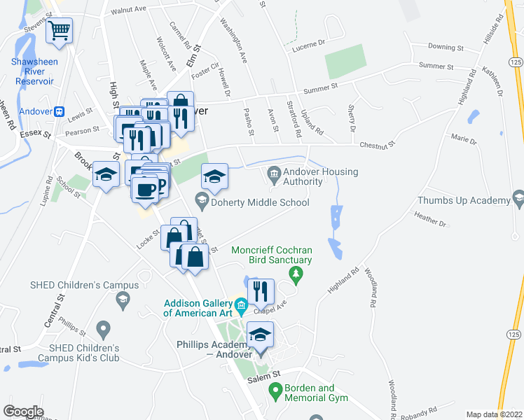 map of restaurants, bars, coffee shops, grocery stores, and more near 52 Morton Street in Andover