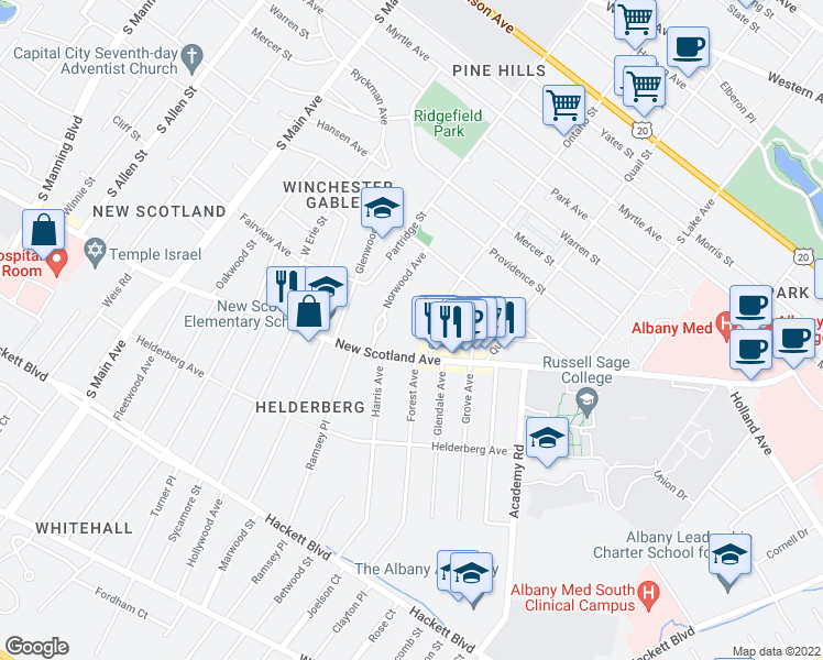 map of restaurants, bars, coffee shops, grocery stores, and more near 51 A Avenue in Albany