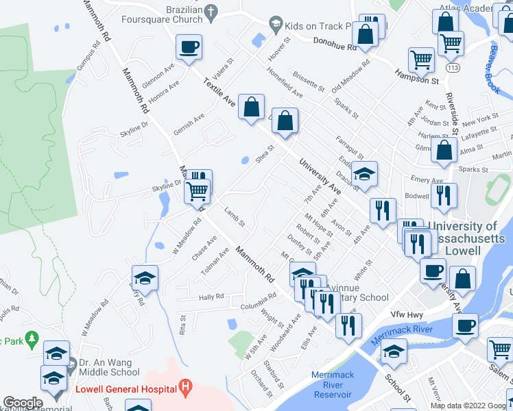 map of restaurants, bars, coffee shops, grocery stores, and more near 18 East Meadow Lane in Lowell
