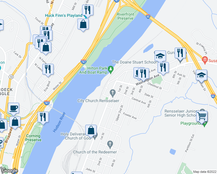 map of restaurants, bars, coffee shops, grocery stores, and more near 15 Forbes Avenue in Rensselaer