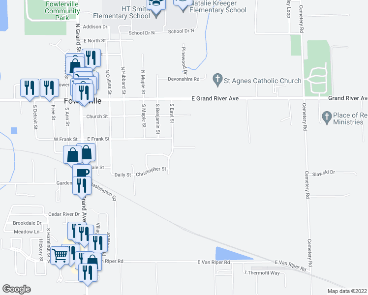 map of restaurants, bars, coffee shops, grocery stores, and more near Brower Road in Fowlerville