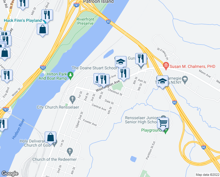 map of restaurants, bars, coffee shops, grocery stores, and more near 19 Chestnut Street in Rensselaer