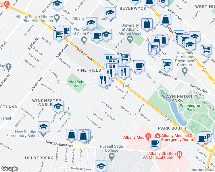 map of restaurants, bars, coffee shops, grocery stores, and more near 315 Ontario Street in Albany