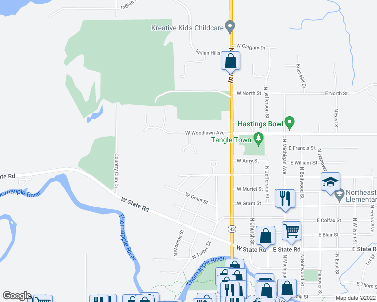 map of restaurants, bars, coffee shops, grocery stores, and more near 520 West Woodlawn Avenue in Hastings
