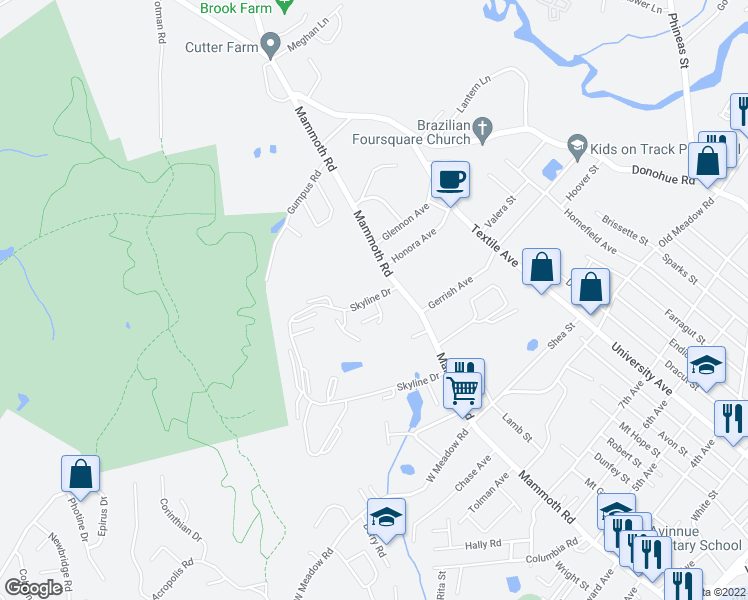 map of restaurants, bars, coffee shops, grocery stores, and more near 250 Skyline Drive in Dracut