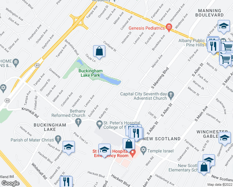 map of restaurants, bars, coffee shops, grocery stores, and more near 50 Kakely Street in Albany
