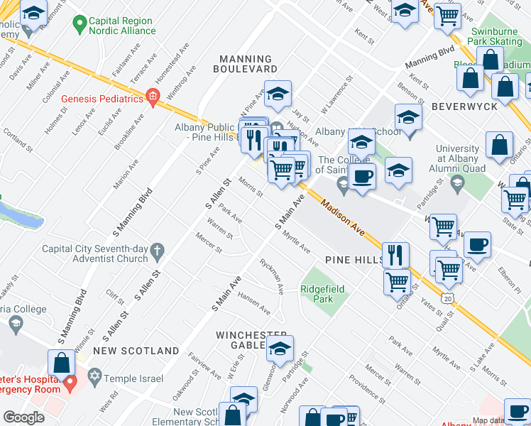 map of restaurants, bars, coffee shops, grocery stores, and more near 859 Myrtle Avenue in Albany