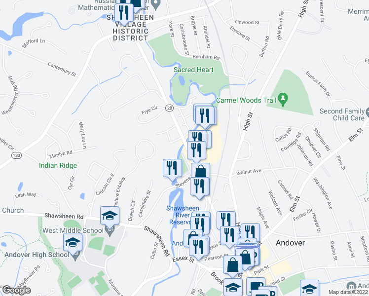 map of restaurants, bars, coffee shops, grocery stores, and more near 222 North Main Street in Andover
