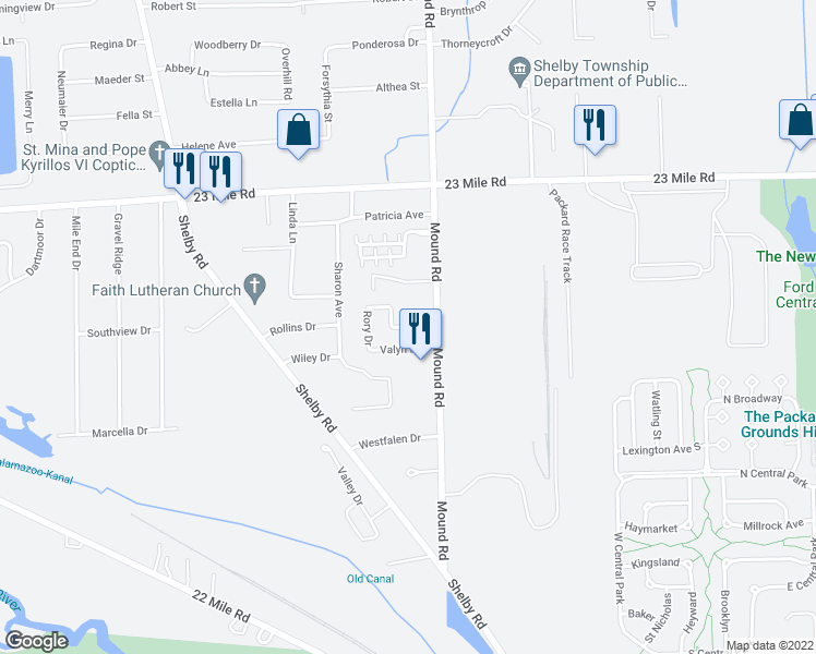 map of restaurants, bars, coffee shops, grocery stores, and more near 5818 Gregory Drive in Macomb County