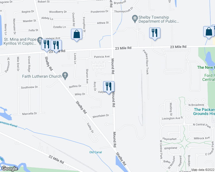 map of restaurants, bars, coffee shops, grocery stores, and more near 5842 Gregory Drive in Macomb County