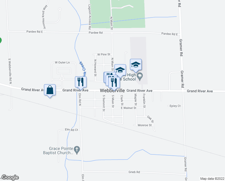 map of restaurants, bars, coffee shops, grocery stores, and more near in Webberville