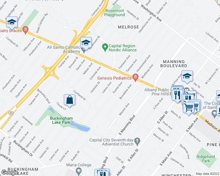 map of restaurants, bars, coffee shops, grocery stores, and more near 53 Lenox Avenue in Albany