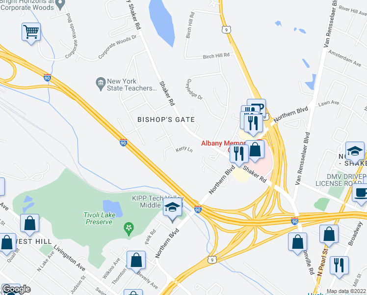 map of restaurants, bars, coffee shops, grocery stores, and more near Kerry Lane in Albany