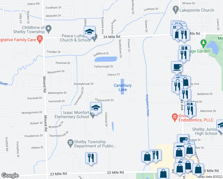 map of restaurants, bars, coffee shops, grocery stores, and more near 6773 Canterbury Court in Shelby Township