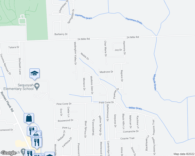 map of restaurants, bars, coffee shops, grocery stores, and more near 52453 Battanwood Drive in Macomb
