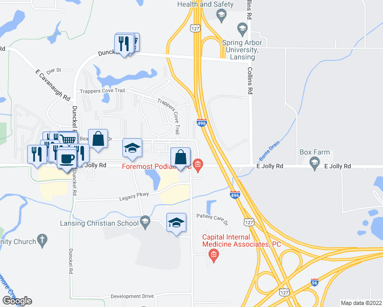 map of restaurants, bars, coffee shops, grocery stores, and more near 4924 Oakbrook Drive in Lansing