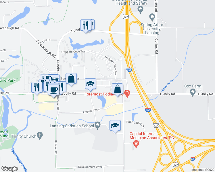 map of restaurants, bars, coffee shops, grocery stores, and more near 4915 Belle Chase Boulevard in Lansing
