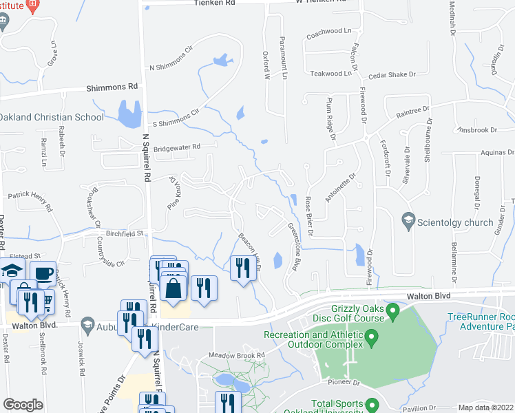 map of restaurants, bars, coffee shops, grocery stores, and more near 2600 Greenstone Boulevard in Auburn Hills
