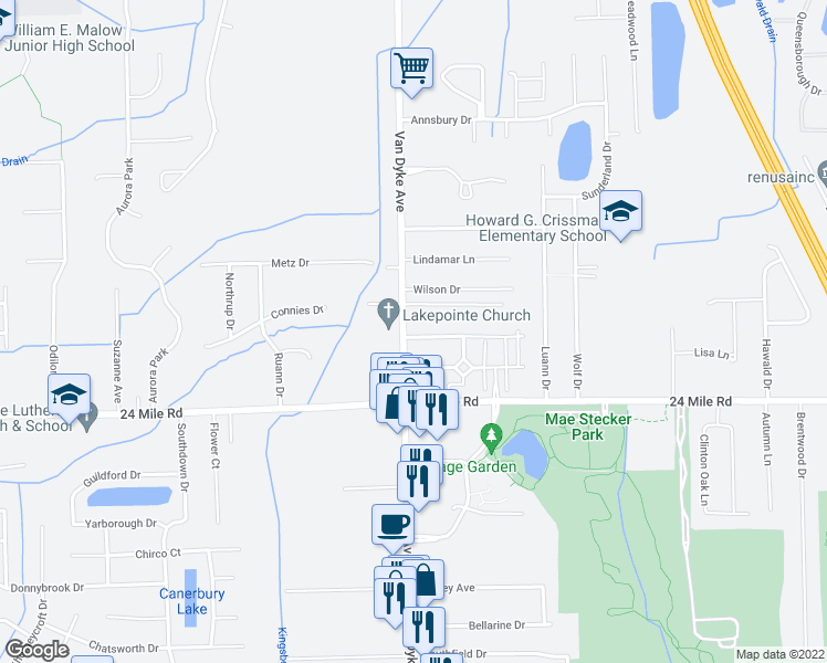 map of restaurants, bars, coffee shops, grocery stores, and more near 8108 Williamstown Drive in Shelby charter Township