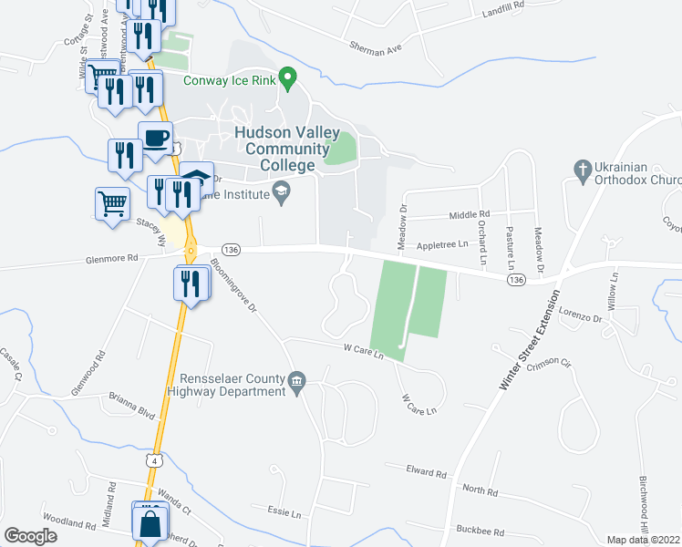 map of restaurants, bars, coffee shops, grocery stores, and more near 214 Hampton Place Boulevard in Troy