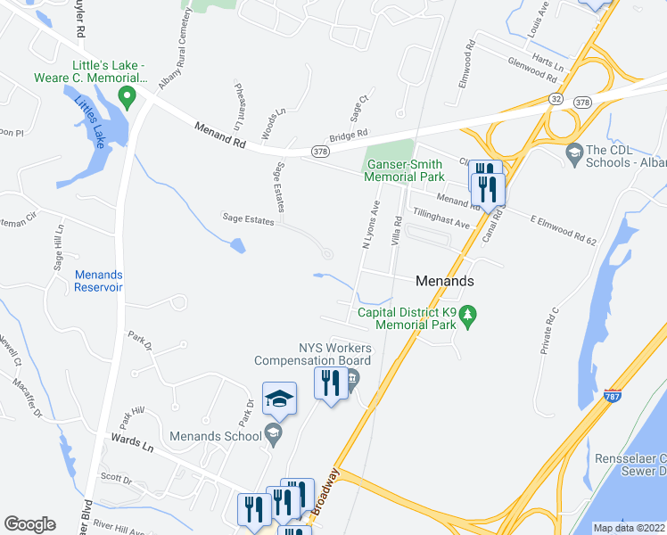 map of restaurants, bars, coffee shops, grocery stores, and more near 12 Sage Court in Menands
