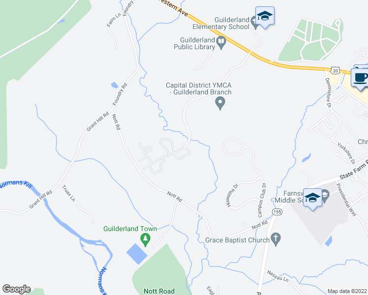 map of restaurants, bars, coffee shops, grocery stores, and more near Winding Brook Drive in Guilderland