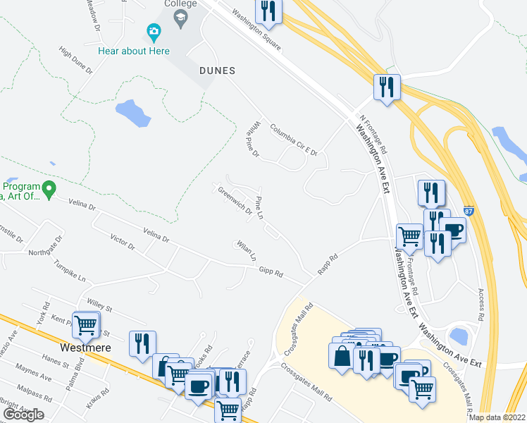 map of restaurants, bars, coffee shops, grocery stores, and more near 32B Pine Lane in Albany