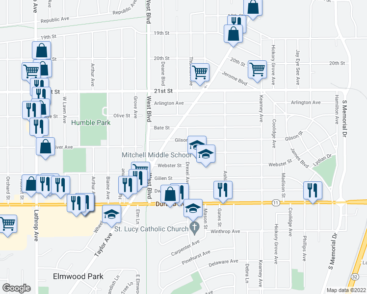 map of restaurants, bars, coffee shops, grocery stores, and more near 2512 Drexel Avenue in Racine