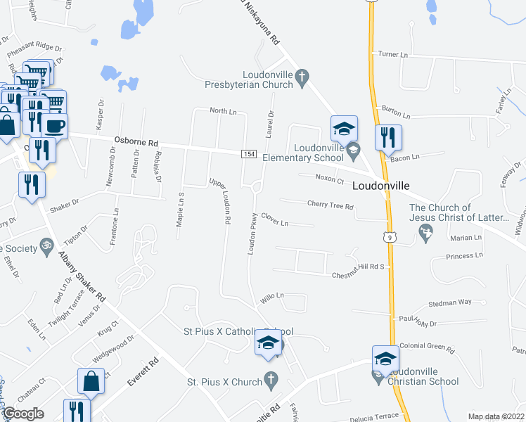 map of restaurants, bars, coffee shops, grocery stores, and more near 14 Loudon Pkwy in Albany