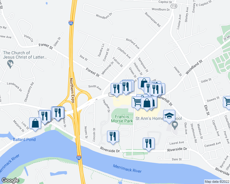 map of restaurants, bars, coffee shops, grocery stores, and more near 241 Haverhill Street in Methuen