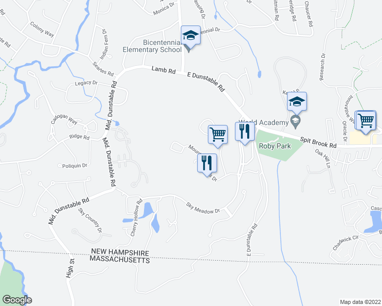 map of restaurants, bars, coffee shops, grocery stores, and more near 12 Mountain Laurels Drive in Nashua