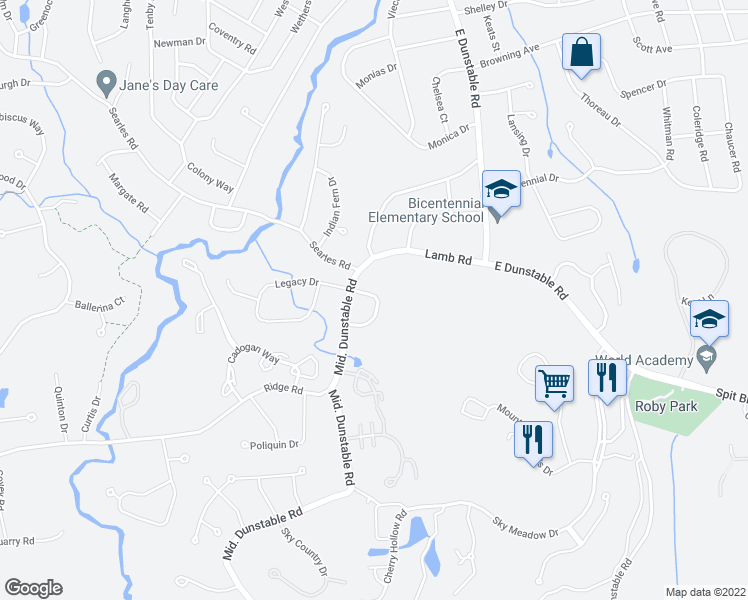 map of restaurants, bars, coffee shops, grocery stores, and more near 38 Stillwater Drive in Nashua